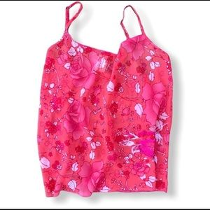 Natori Pink Sheer with Embroidered Appliqué Top